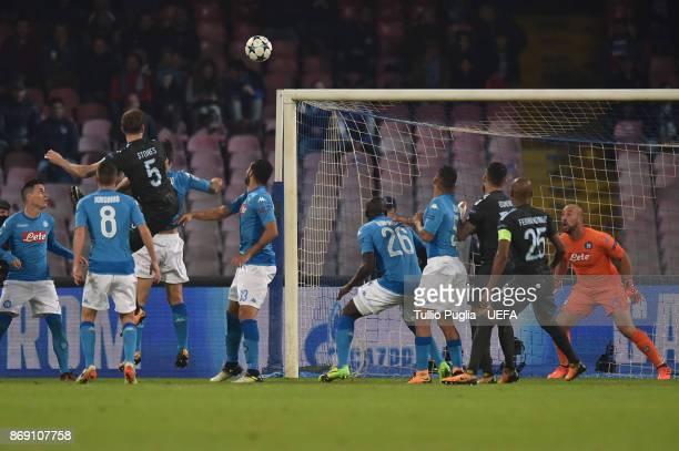John Stones of Mancester City scores his team's second goal during the UEFA Champions League group F match between SSC Napoli and Manchester City at...