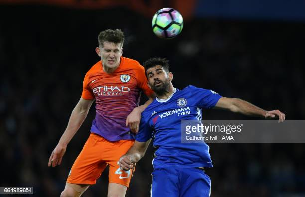 John Stones of Manchester City and Diego Costa of Chelsea during the Premier League match between Chelsea and Manchester City at Stamford Bridge on...