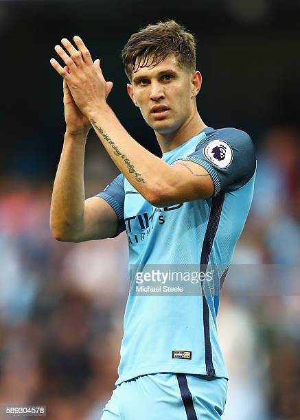 John Stones of Manchester City applauds the Manchester City fans during the Premier League match between Manchester City and Sunderland at Etihad...