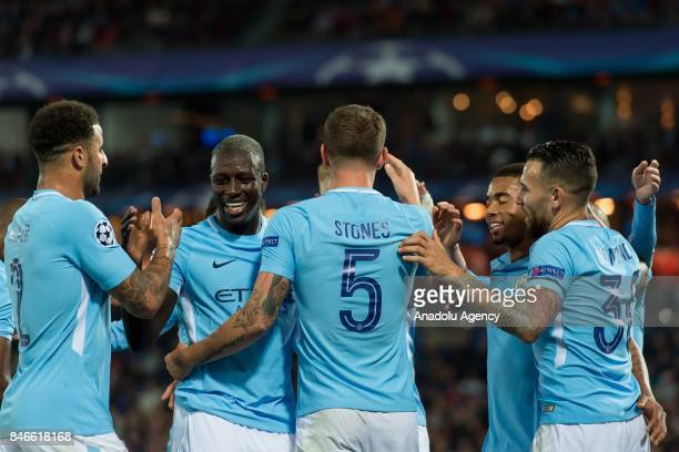 John Stones of Manchester City celebrate a goal during the UEFA Champions League group F match between Feyenoord Rotterdam and Manchester City at...