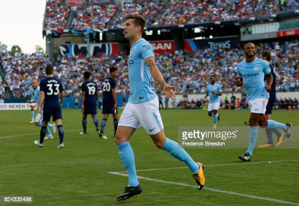 John Stones of Manchester City celebrates after scoring a goal against Tottenham during the first half of the 2017 International Champions Cup...