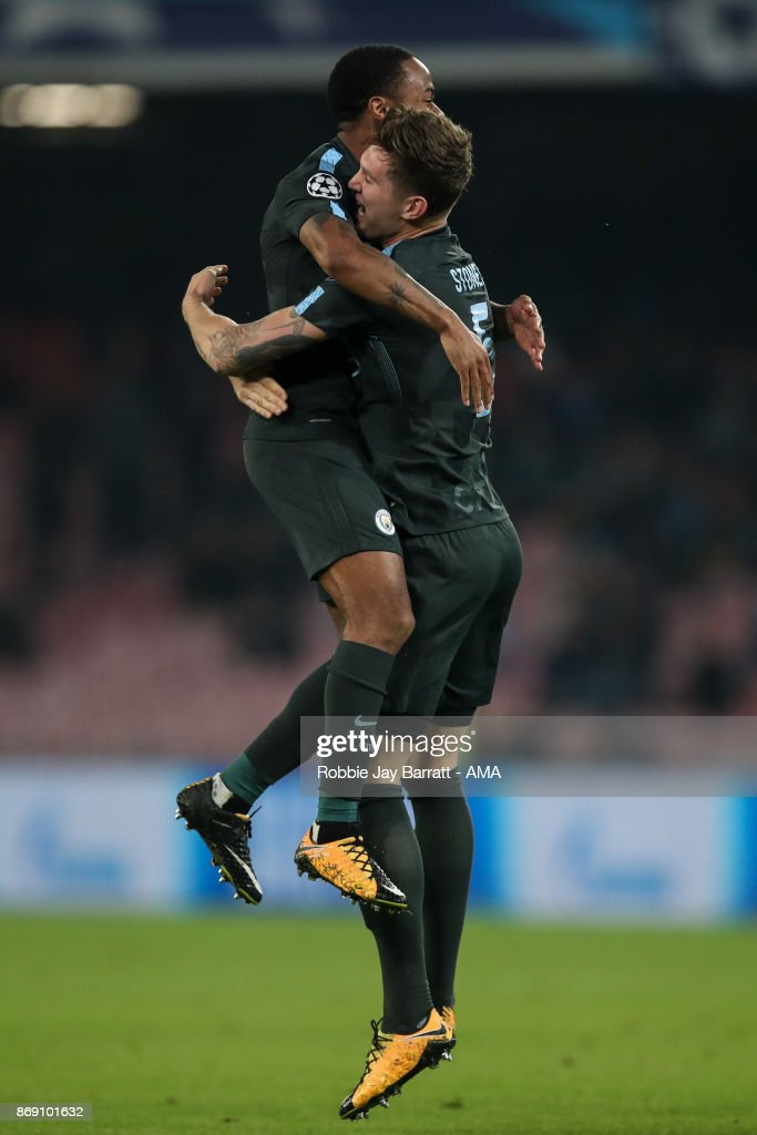 John Stones of Manchester City celebrates after scoring a goal to make it 1-2 during the UEFA Champions League group F match between SSC Napoli and Manchester City at Stadio San Paolo on November 1, 2017 in Naples, Italy.