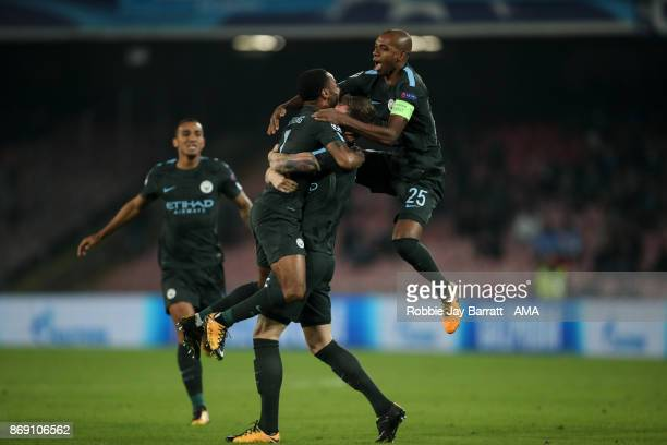 John Stones of Manchester City celebrates after scoring a goal to make it 12 during the UEFA Champions League group F match between SSC Napoli and...