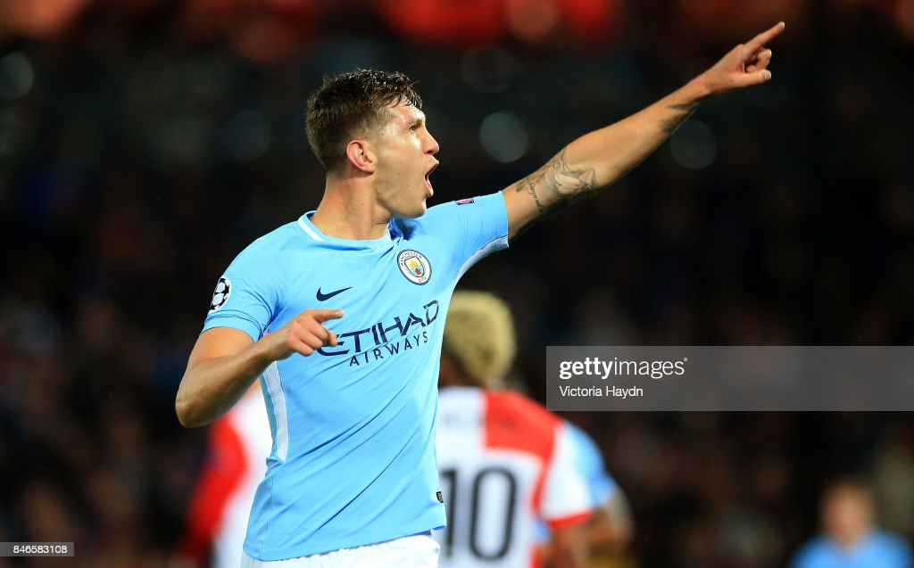 John Stones of Manchester City celebrates scoring his sides fourth goal during the UEFA Champions League group F match between Feyenoord and Manchester City at Feijenoord Stadion on September 13, 2017 in Rotterdam, Netherlands.