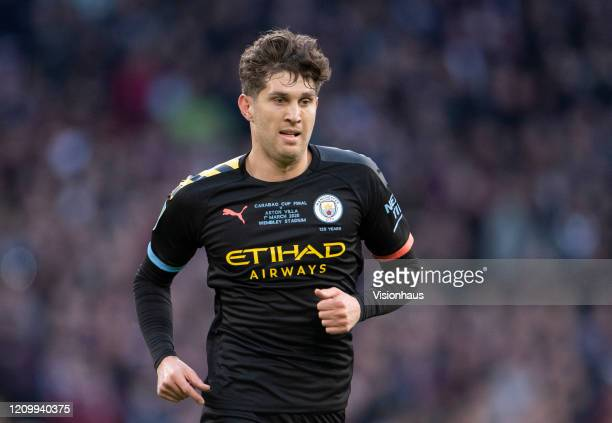 John Stones of Manchester City during the Carabao Cup Final between Aston Villa and Manchester City at Wembley Stadium on March 01 2020 in London...