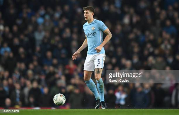 John Stones of Manchester City during the Carabao Cup SemiFinal First Leg match between Manchester City and Bristol City at Etihad Stadium on January...
