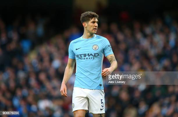 John Stones of Manchester City during The Emirates FA Cup Third Round match between Manchester City and Burnley at Etihad Stadium on January 6 2018...