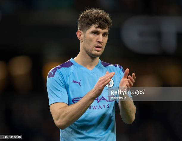 John Stones of Manchester City during the FA Cup Third Round match between Manchester City and Port Vale at Etihad Stadium on January 4, 2020 in...