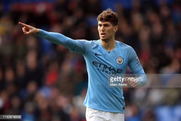 John Stones of Manchester City during the Premier League match between Crystal Palace and Manchester City at Selhurst Park on April 14 2019 in London...