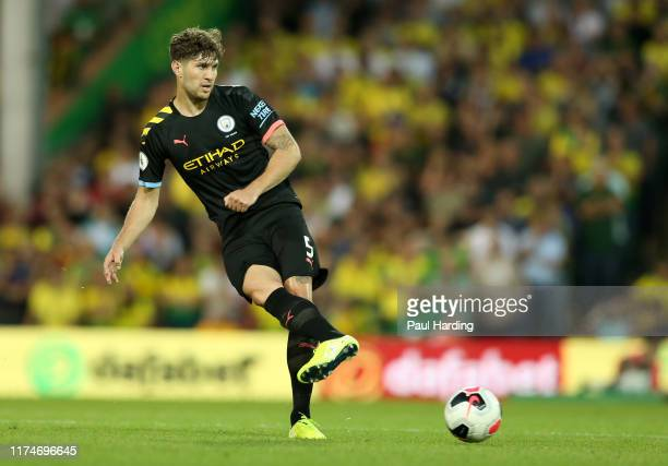 John Stones of Manchester City during the Premier League match between Norwich City and Manchester City at Carrow Road on September 14 2019 in...