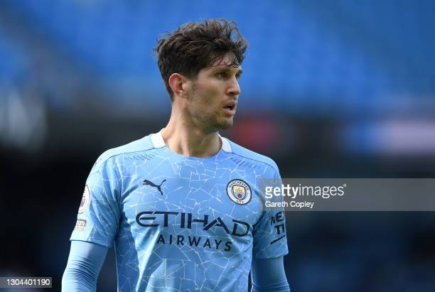 John Stones of Manchester City during the Premier League match between Manchester City and West Ham United at Etihad Stadium on February 27, 2021 in...