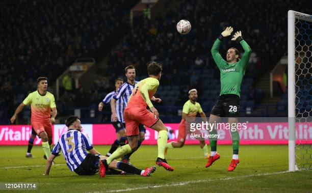 John Stones of Manchester City heads towards goal during the FA Cup Fifth Round match between Sheffield Wednesday and Manchester City at Hillsborough...