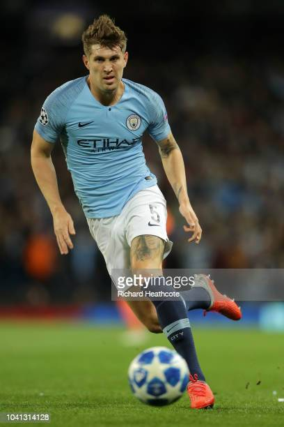 John Stones of Manchester City in action during the Group F match of the UEFA Champions League between Manchester City and Olympique Lyonnais at...