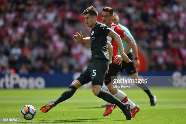 John Stones of Manchester City in action during the Premier League match between Southampton and Manchester City at St Mary's Stadium on May 13 2018...