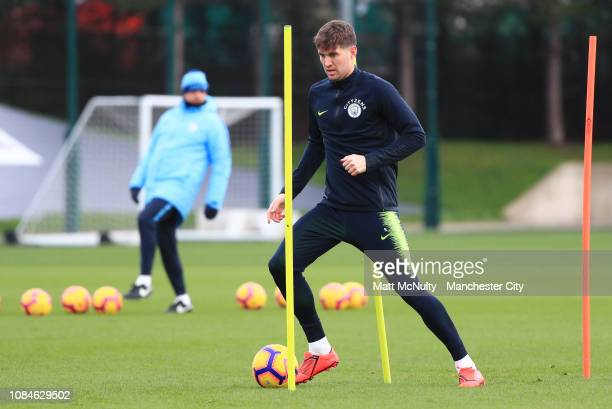 John Stones of Manchester City in action during the training session at Manchester City Football Academy on January 18 2019 in Manchester England