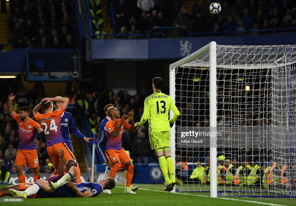 John Stones of Manchester City misses a chance during the Premier League match between Chelsea and Manchester City at Stamford Bridge on April 5, 2017 in London, England.