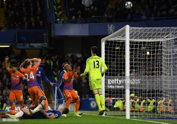 John Stones of Manchester City misses a chance during the Premier League match between Chelsea and Manchester City at Stamford Bridge on April 5 2017...