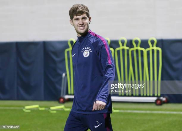 John Stones of Manchester City reacts during training at Manchester City Football Academy on December 22 2017 in Manchester England