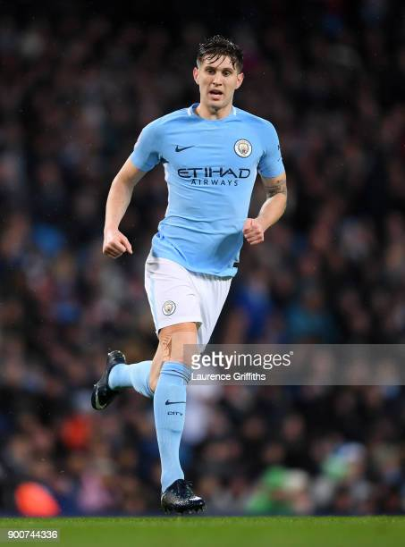 John Stones of Manchester City runs off the ball during the Premier League match between Manchester City and Watford at Etihad Stadium on January 2...