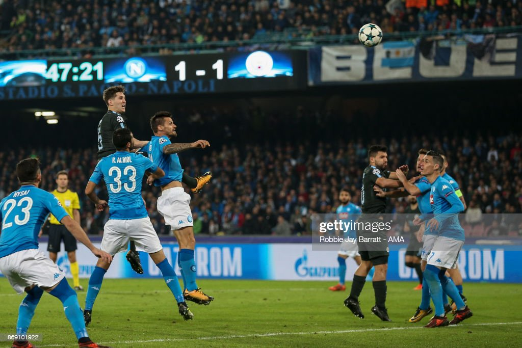 John Stones of Manchester City scores a goal to make it 1-2 during the UEFA Champions League group F match between SSC Napoli and Manchester City at Stadio San Paolo on November 1, 2017 in Naples, Italy.