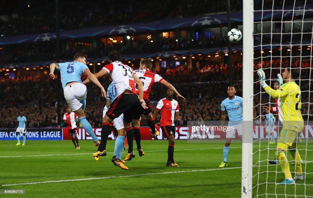 John Stones of Manchester City scores his sides fourth goal during the UEFA Champions League group F match between Feyenoord and Manchester City at Feijenoord Stadion on September 13, 2017 in Rotterdam, Netherlands.