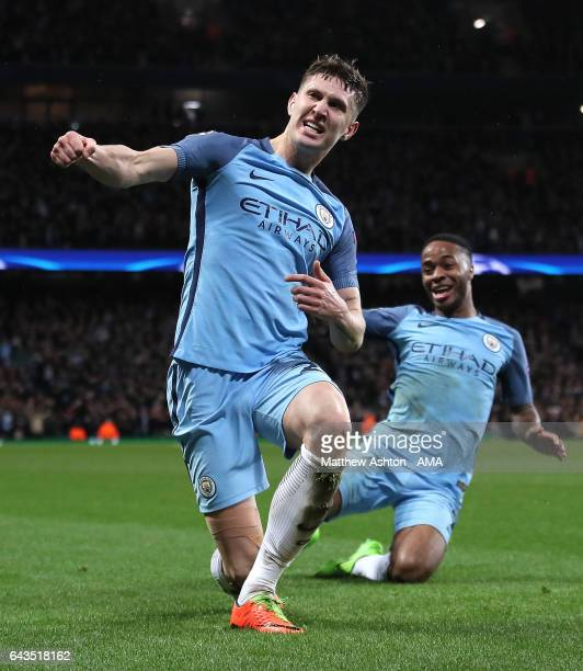 John Stones of Manchester City scores his team's fourth goal to make the score 43 during the UEFA Champions League Round of 16 first leg match...