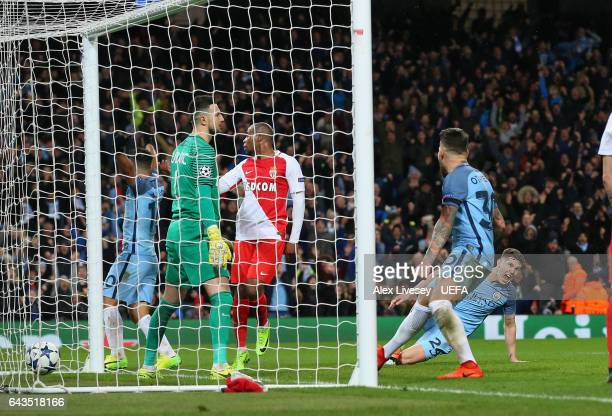 John Stones of Manchester City scores their fourth goal during the UEFA Champions League Round of 16 first leg match between Manchester City FC and...