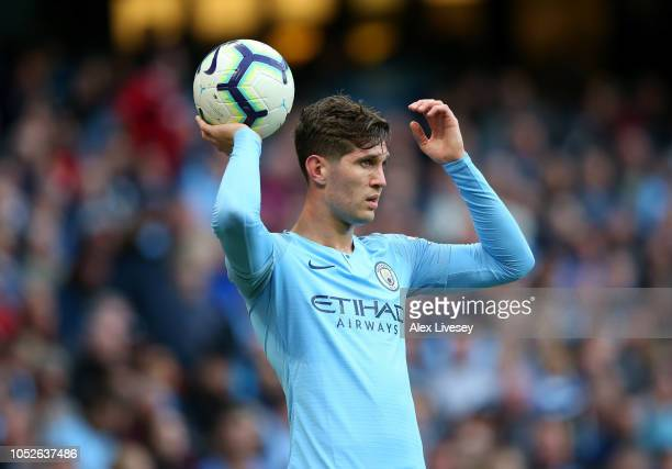 John Stones of Manchester City takes a throw in during the Premier League match between Manchester City and Burnley FC at Etihad Stadium on October...