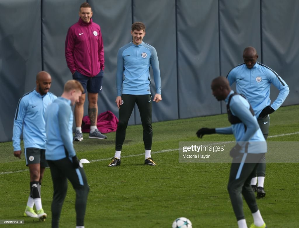 John Stones reacts during training at Manchester City Football Academy on October 31, 2017 in Manchester, England.