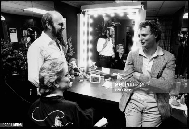 John Strasberg son of famed Actor's Studio teacher Lee Strasberg with actress Alexis Smith and TV director James Burrows backstage October 3rd Los...