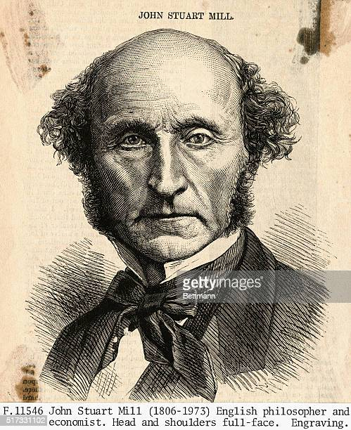 John Stuart Mill English philosopher and economist Head and shoulders full face Undated engraving