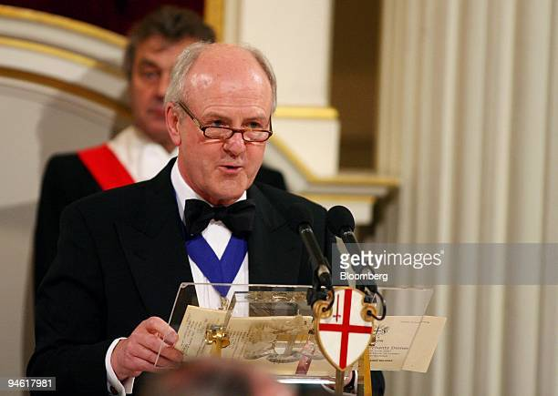 John Stuttard lord mayor of London's City financial district makes remarks to an audience of bankers including Gordon Brown the UK Chancellor of the...