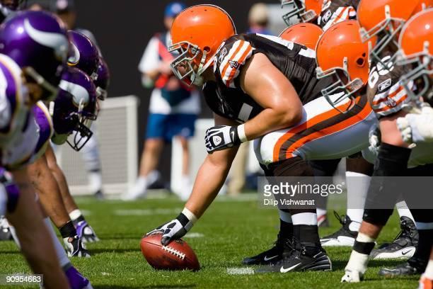 John Sullivan of the Cleveland Browns lines up against the Minnesota Vikings on September 13 2009 at Cleveland Browns Stadium in Cleveland Ohio The...