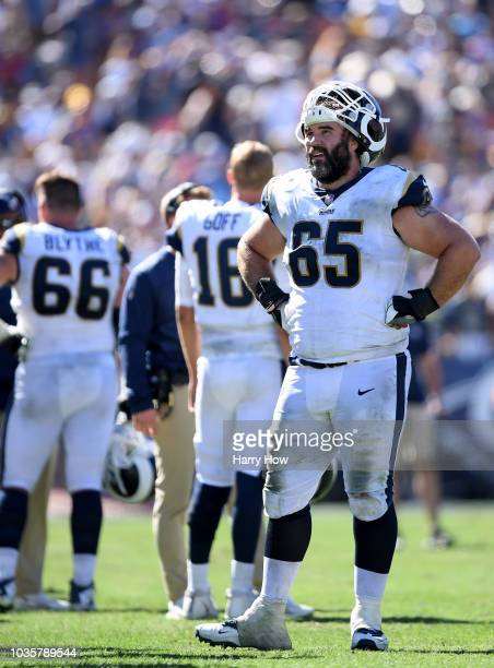 John Sullivan of the Los Angeles Rams during a timeout during a 340 win over the Arizona Cardinals at Los Angeles Memorial Coliseum on September 16...