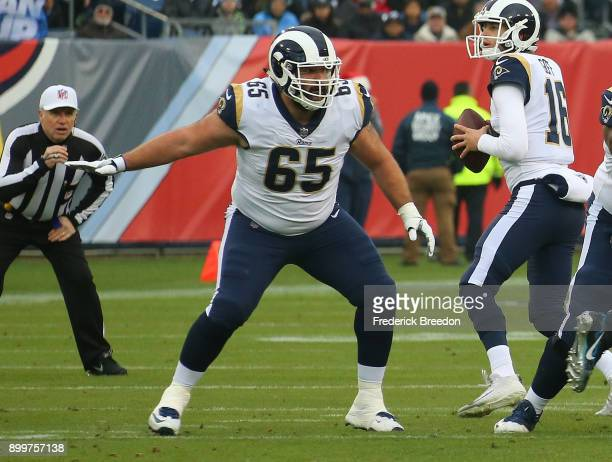 John Sullivan of the Los Angeles Rams plays against the Tennessee Titans at Nissan Stadium on December 24 2017 in Nashville Tennessee