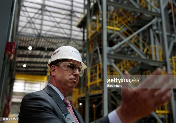 John Surma chairman and chief executive officer of United States Steel Corp speaks during a tour of the Continuous Annealing Line at the PROTEC...