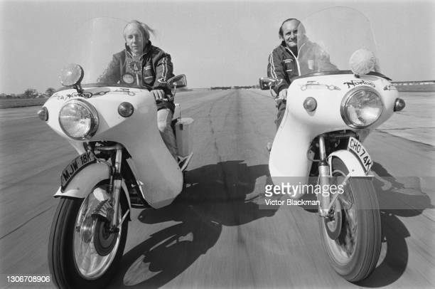 John Surtees and Mike Hailwood , riding 750cc Norton Commando motorcycles, 29th March 1973.