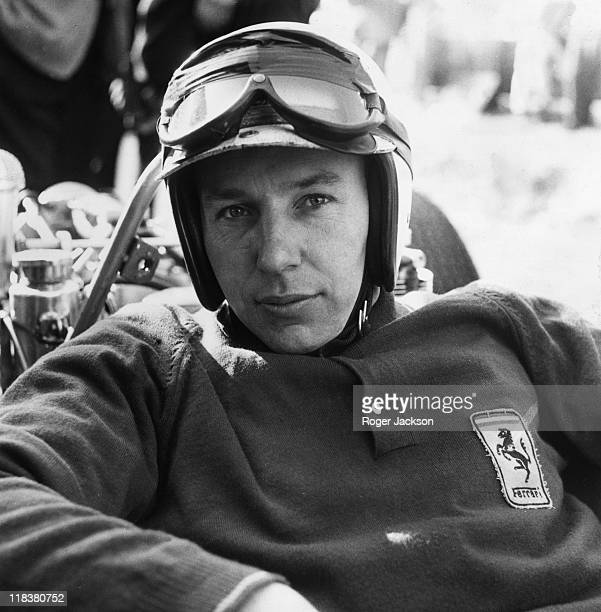 John Surtees British Formula One driver wearing his crash hemlet with his goggles raised at the Race of Champions meeting at Brands Hatch near...