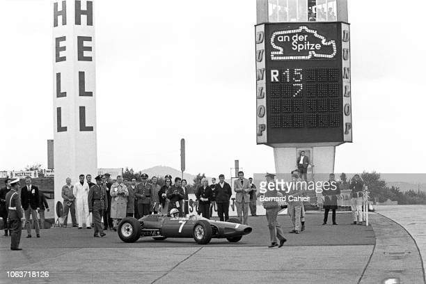 John Surtees, Ferrari 158, Grand Prix of Germany, Nurburgring, 02 August 1964. John Surtees after his victory in the 1964 German Grand Prix at the...