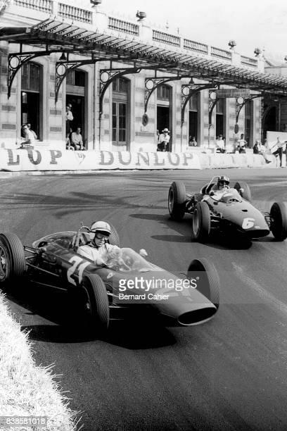 John Surtees Graham Hill Ferrari 156 BRM P57 Grand Prix of Monaco Monaco 26 May 1963 Opposite lock for John Surtees and his Ferrari 156 battling with...