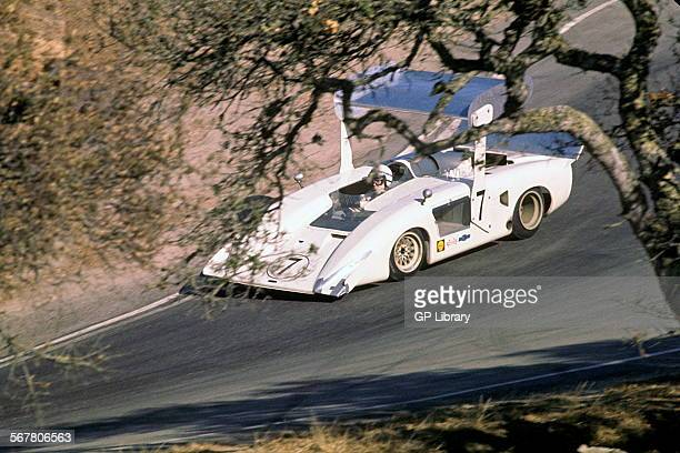 John Surtees in the works Chaparral 2H Chevrolet in the Corkscrew section during practice Pacific Grand Prix Laguna Seca California USA 12 Oct 1969