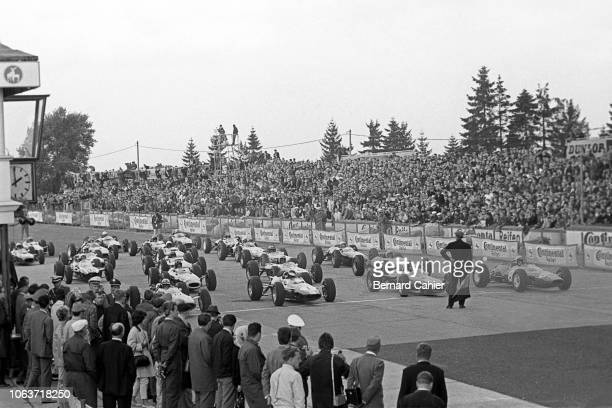 John Surtees, Jim Clark, Dan Gurney, Lorenzo Bandini, Ferrari 158, Lotus-Climax 25, Brabham-Climax BT7, Grand Prix of Germany, Nurburgring, 02 August...