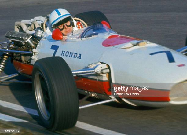 John Surtees of Great Britain drives the Honda Racing Honda RA273 Honda V12 during the II Race of Champions on 12th March 1967 at the Brands Hatch...