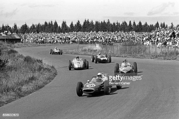 John Surtees Richie Ginther Dan Gurney Bruce McLaren CooperClimax T53 Ferrari 156 Porsche 718 CooperClimax T55 Grand Prix of Germany Nurburgring 06...