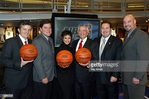 John Sutcliffe Jessi Losada Claudia Trejos NBA Commissioner David Stern Andres Cantor and Edgar Lopez pose during the NBA's partnership launch party...