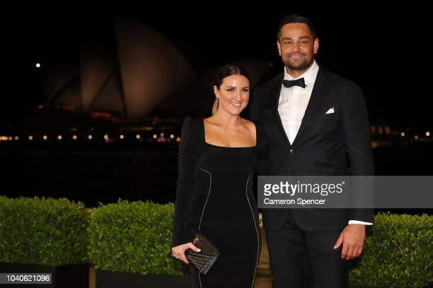 John Sutton and Stacey Shumack arrive at the 2018 Dally M Awards at Overseas Passenger Terminal on September 26 2018 in Sydney Australia