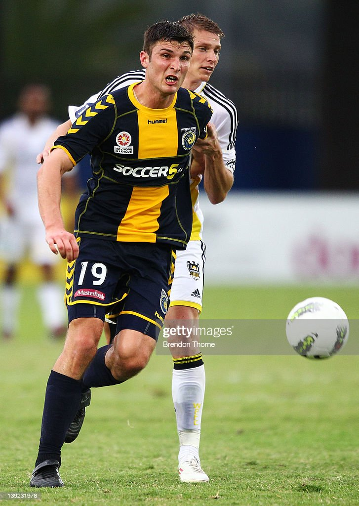 John Sutton of the Mariners controls the ball during the round 20 A-League match between the Central Coast Mariners and the Wellington Phoenix at Bluetongue Stadium on February 18, 2012 in Gosford, Australia.