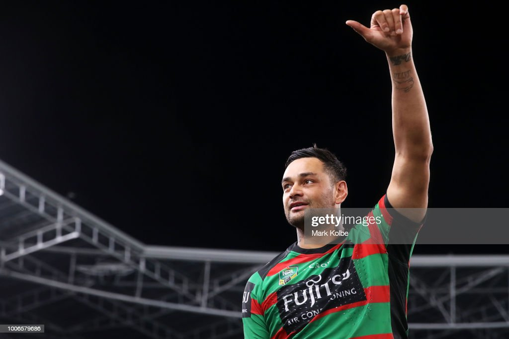 John Sutton of the Rabbitohs acknowledges the crowd as he leaves the field after playing his 300th match during the round 20 NRL match between the South Sydney Rabbitohs and the Parramatta Eels at ANZ Stadium on July 28, 2018 in Sydney, Australia.