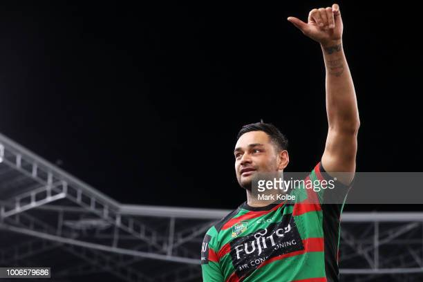 John Sutton of the Rabbitohs acknowledges the crowd as he leaves the field after playing his 300th match during the round 20 NRL match between the...