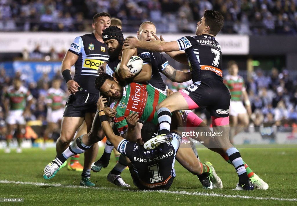 John Sutton of the Rabbitohs crosses to score a try during the round 20 NRL match between the Cronulla Sharks and the South Sydney Rabbitohs at Southern Cross Group Stadium on July 21, 2017 in Sydney, Australia.